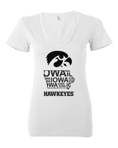 Women's Iowa V-Neck Short Sleeve Tee - Iowa Hawkeye State Outline