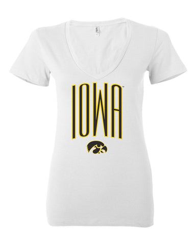 Women's Iowa Hawkeyes V-Neck Tee Shirt - Iowa Arch with Tigerhawk