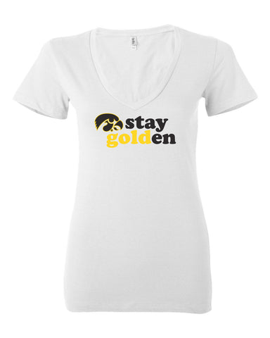 Women's Iowa Hawkeyes V-Neck Tee Shirt - Stay Golden