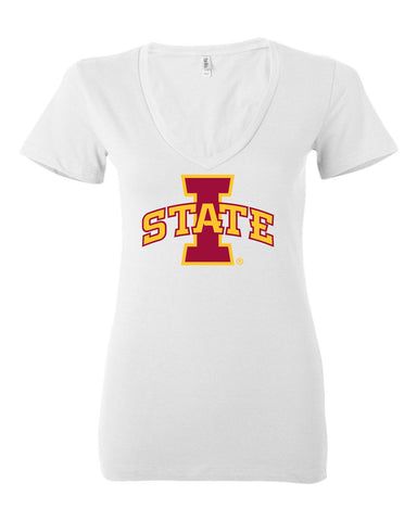 Women's Iowa State Cyclones V-Neck Tee Shirt - ISU I-STATE Logo