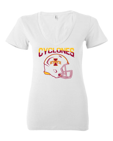 Women's Iowa State Cyclones V-Neck Tee Shirt - ISU Cyclones Football Helmet