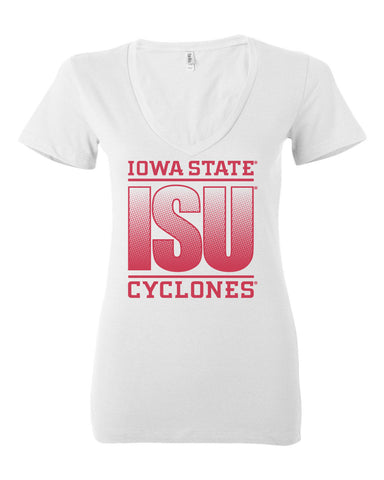 Women's Iowa State Cyclones V-Neck Tee Shirt - ISU Fade Red on White