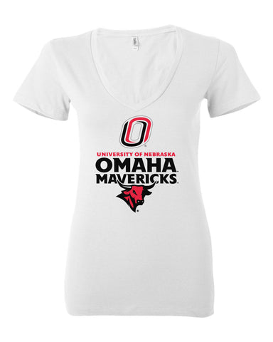 Women's Omaha Mavericks V-Neck Tee Shirt - Omaha Mavericks with Bull and Primary Logo on White