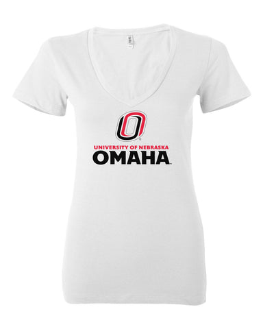 Women's Omaha Mavericks V-Neck Tee Shirt - University of Nebraska Omaha with Primary Logo on White