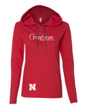 "Women's Nebraska Cornhuskers CornBorn Script ""huskers love red"" Long Sleeve Hoody"