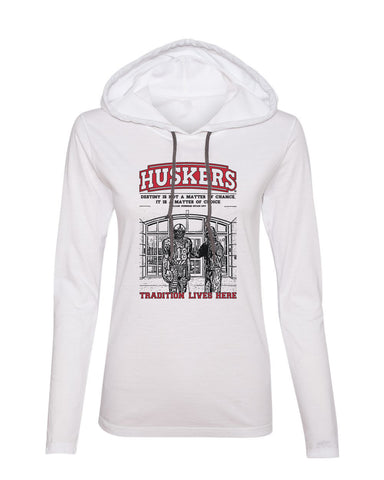 Women's Nebraska Cornhuskers Football Berringer & Osborne Statue Long Sleeve Hoody