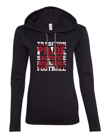 "Women's Nebraska Cornhuskers Football ""TRADITION PRIDE SACRIFICE"" Long Sleeve Hoody"