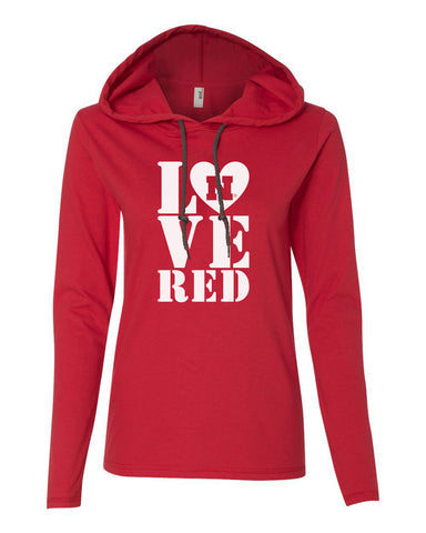 Women's Nebraska Cornhuskers Stacked LOVE N RED Long Sleeve Hoody
