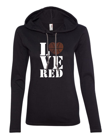 "Women's Stacked ""LOVE RED"" Rhinestone Basketball Long Sleeve Hooded Tee"