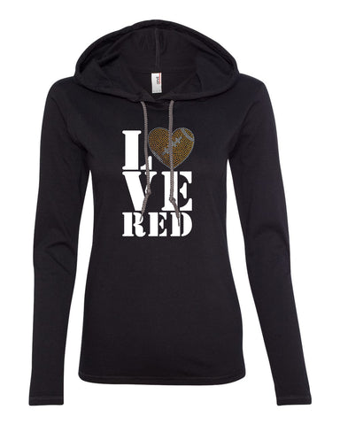 "Women's Stacked ""LOVE RED"" Rhinestone Football Long Sleeve Hooded Tee"
