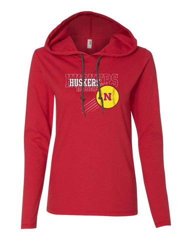 Women's Nebraska Huskers x 3 Softball Long Sleeve Hoody