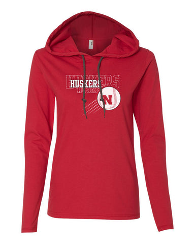 Women's Nebraska Huskers x 3 Baseball Long Sleeve Hoody