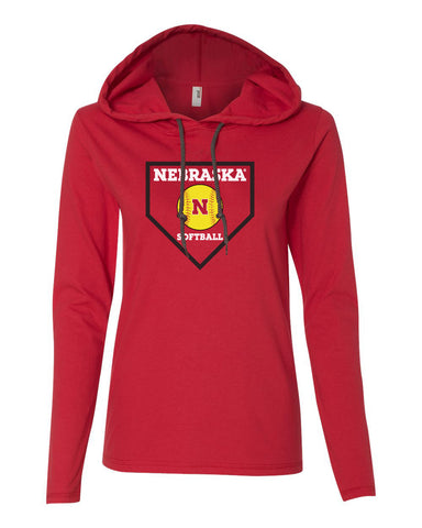 Women's Nebraska Huskers Softball Home Plate Long Sleeve Hoody