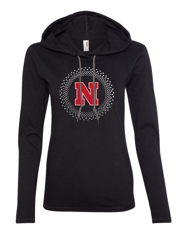 Women's Nebraska N Circle Burst Rhinestones Long Sleeve Hoody