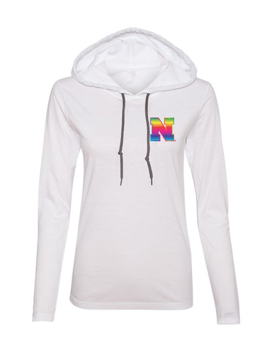 Women's Nebraska Rainbow N Long Sleeve Hoody