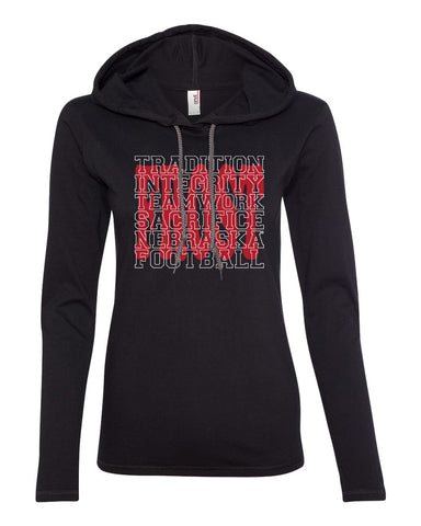 "Women's Nebraska Football with ""FROST"" Background Long Sleeve Hooded Tee Shirt"