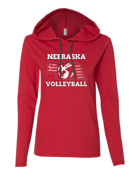 Women's Nebraska Volleyball 5-Time National Champions Long Sleeve Hoody