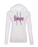 Nebraska Tee Shirt Women's Long Sleeve Hooded Red White And Blue Script Huskers