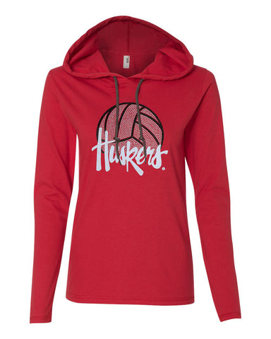 Women's Nebraska Husker Tee Shirt Long Sleeve Hooded - Huskers Volleyball With Glitter And Rhinestones