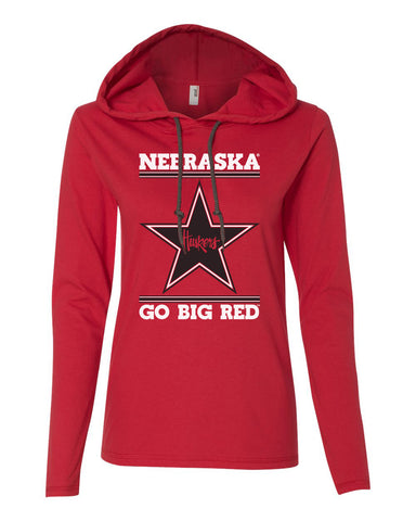 Women's Nebraska Husker Tee Shirt Long Sleeve Hooded - Star Huskers GO BIG RED