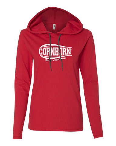 Women's Nebraska Husker Tee Shirt Long Sleeve Hooded - CornBorn Forever a Nebraskan