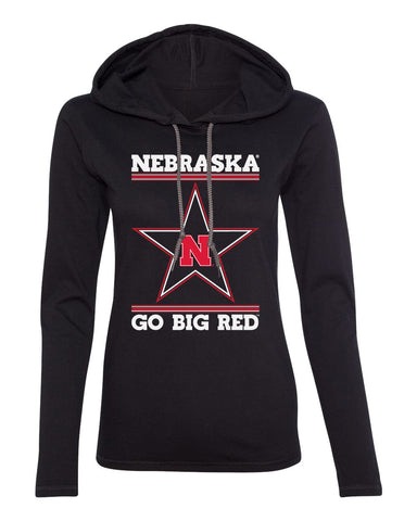 Women's Nebraska Husker Tee Shirt Long Sleeve Hooded - Star N GO BIG RED