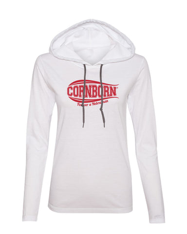 Women's Nebraska Tee Shirt Long Sleeve Hooded - CORNBORN - Forever a Nebraskan