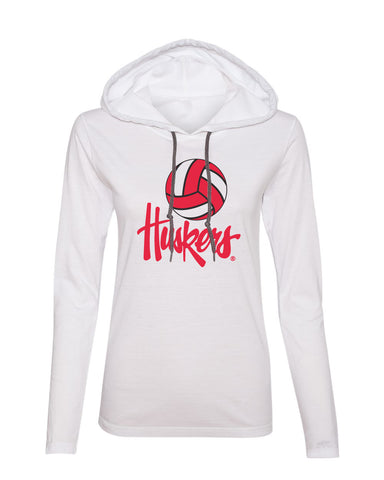 Women's Nebraska Huskers Long Sleeve Hooded Tee Shirt - Nebraska Volleyball Legacy Script Huskers