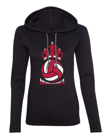 Women's Nebraska Huskers Long Sleeve Hooded Tee Shirt - Nebraska Huskers Volleyball Crown