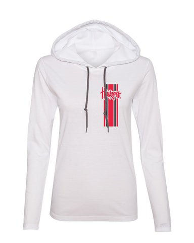 Women's Nebraska Huskers Long Sleeve Hooded Tee Shirt - Vertical Stripe Script Huskers