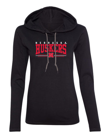 Women's Nebraska Huskers Long Sleeve Hooded Tee Shirt - Nebraska Huskers Stripe N