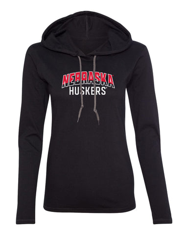 Women's Nebraska Huskers Long Sleeve Hooded Tee Shirt - Nebraska Arch Huskers