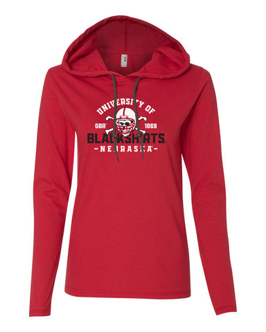 Women's Nebraska Huskers Long Sleeve Hooded Tee Shirt - University of Nebraska Blackshirts GBR