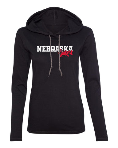 Women's Nebraska Huskers Long Sleeve Hooded Tee Shirt - Nebraska Huskers Script Overlapping