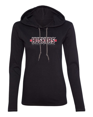 Women's Nebraska Huskers Long Sleeve Hooded Tee Shirt - Huskers Horizontal Stripe
