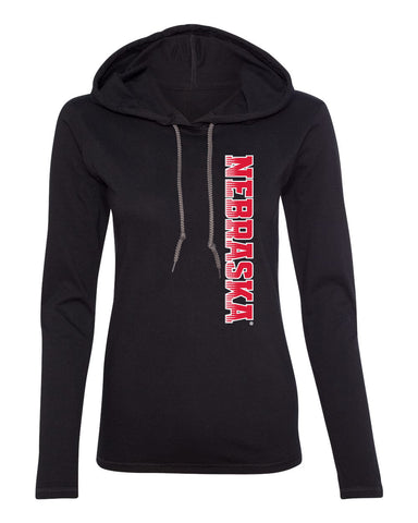 Women's Nebraska Huskers Long Sleeve Hooded Tee Shirt - Vertical Nebraska Red & White Fade