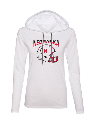 Women's Nebraska Huskers Long Sleeve Hooded Tee Shirt - Nebraska Huskers Football Helmet