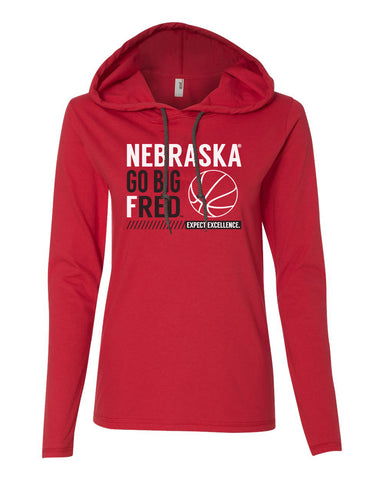 Women's Nebraska Huskers Long Sleeve Hooded Tee Shirt - Nebraska Basketball - GO BIG FRED