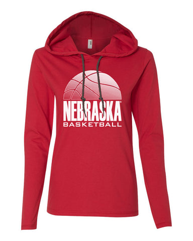 Women's Nebraska Huskers Long Sleeve Hooded Tee Shirt - Nebraska Basketball