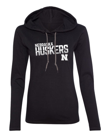 Women's Nebraska Huskers Long Sleeve Hooded Tee Shirt - Huskers Stripe Fade