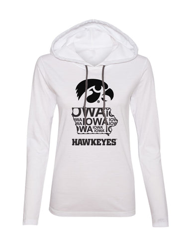 Women's Iowa Long Sleeve Hooded Tee - Iowa Hawkeye State Outline