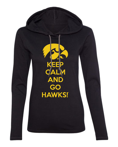 Iowa Women's Long Sleeve Hooded Tee Shirt - Keep Calm and Go Hawks