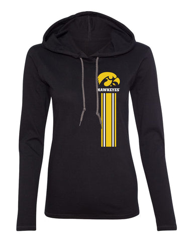 Women's Iowa Hawkeyes Long Sleeve Hooded Tee Shirt - IOWA Hawkeyes Vertical Stripe with Tigerhawk