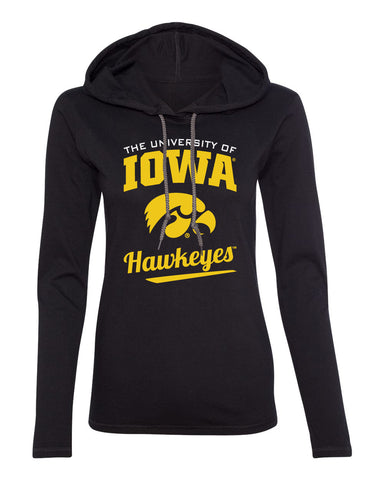 Women's Iowa Hawkeyes Long Sleeve Hooded Tee Shirt - The University Of Iowa Script Hawkeyes