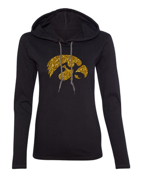 Women's Iowa Hawkeyes Long Sleeve Hooded Tee Shirt - Tigerhawk Logo in Gold Glitter