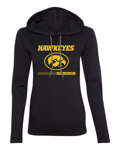 Women's Iowa Hawkeyes Long Sleeve Hooded Tee Shirt - Hawkeyes with Oval Tigerhawk - Expect Excellence