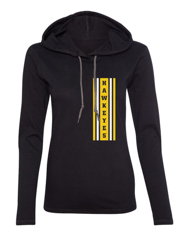 Women's Iowa Hawkeyes Long Sleeve Hooded Tee Shirt - Vertical Stripe with HAWKEYES