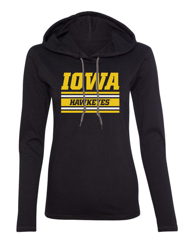 Women's Iowa Hawkeyes Long Sleeve Hooded Tee Shirt - Horizontal Stripe Italic Iowa HAWKEYES