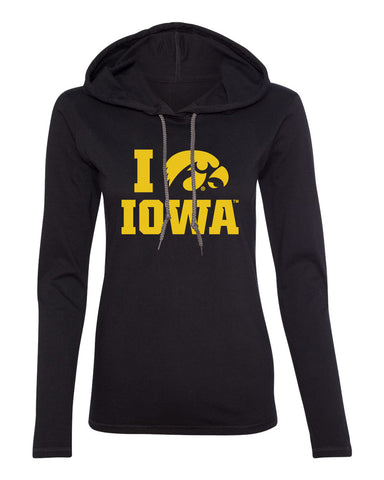 Women's Iowa Hawkeyes Long Sleeve Hooded Tee Shirt - I Love IOWA