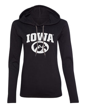 Women's Iowa Hawkeyes Long Sleeve Hooded Tee Shirt - Arched IOWA with Tigerhawk Oval